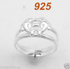 Solid Real 925 Sterling Silver Adjustable Nautical Playing Dolphins Toe Ring