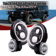 "4pc DOT 7"" LED Headlight+4"" Fog Lights Fits AM General Hummer H1 H2"