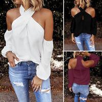 ZANZEA Women Cold Shoulder Halter Top Tee Shirt Cut Out Zip Up Summer Blouse