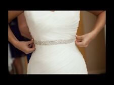 Wedding Dress Sash Belt - Crystal Sash = APPLIQUE PART ONLY = DIY = 1 Yard Long