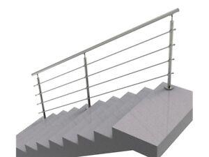 Handlauf Treppengeländer Brüstung Treppe Bausatz Edelstahl Bodenmontage 3m*90cm