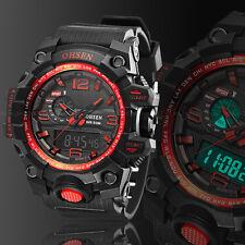 Ohsen Mens G Style DIGIT Light Day Alarm Sport Shock Red Quartz Wrist Watch