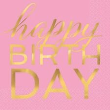GOLD FOIL HAPPY BIRTHDAY LUNCH NAPKINS (16) ~ Adult Party Supplies Serviettes