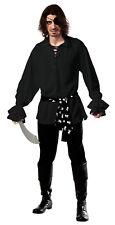 Adult Cotton Black Pirate Shirt with Waist Sash Adult Size XLarge