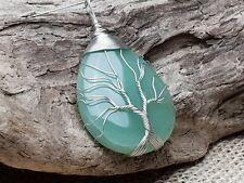 Edelstein Anhänger Aventurin Oval Tropfen Lebensbaum tree of life Kette grün