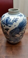 Antique Chinese ?or Dutch ? English Delft Blue White Ginger Jar Urn Bird Flowers