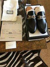 NIB Gucci Women's Princetown Black Leather Loafer Mule Slide Shoes Size 37.5