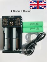 Efast USB Charger PLUS 2 x Samsung 18650 2500mAh 25R Vape Batteries