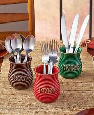 Set of 3 Flatware Crocks Utensil Holder Autumn Colored Spoon Fork Cutlery Holder