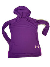 Girls Under Armour Purple Hooded Long Sleeve Shirt No Size Tag L 10 12 ?