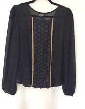Per Una 'Speziale' Women's Black & Gold Long Sleeve Chiffon Blouse Top Size UK 8