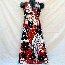 Vtg 70's ELEU Hawaii Sz XS/S Hawaiian Aloha Empire Waist Barkcloth Maxi Dress