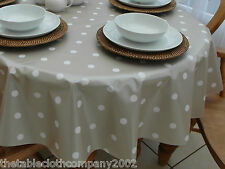 140 x 250cm Oval Wipe Clean PVC Tablecloth - Champagne Polka Dot