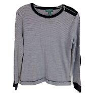 Ralph Lauren Striped Shirt Faux Suede Elbow Patches Womens Size Petite Large