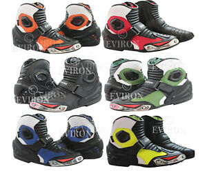 Short Ankle Style Motorcycle Motorbike Leather Boots Multi Colours