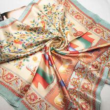 35inch 100% Silk Scarf Square Women Bandana Neck Dress Shawl Wrap blue FJ31061