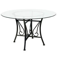 Princeton Round Glass Dining Table with Black Metal Frame