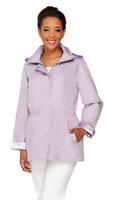 Dennis Basso Water Resistant Anorak Jacket with Detachable Hood,Lavendar,XS, $61