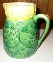 Antique Majolica Green Leaf Yellow Top Pottery Pitcher