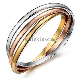 Triple Rolling Rose Gold Tone Silver Stainless Steel Bangle Girls Bracelet