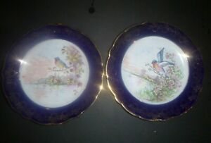 Vintage Pair Veritable Porcelaine d' Art Limoges France Cobalt Gold Bird Plates