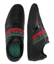 Lacoste Men Shoes Misano Elastic 120  Black Green Leather Casual Sneakers NEW