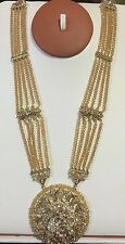 Indian Polki Kundan Mate Gold  Long Necklace Champagne Crystal Beads