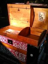 BlackDog Antique Dome Steamer Trunk Victorian Wood Chest Stagecoach C:1800