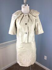 Etcetera 0 2 Silver Linen Poly Blend Crackle Faux Leather Skirt Suit Belt Career
