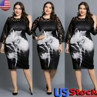 Plus Size Womens Printed Midi Full Dress Lace Half Sleeve Party Evening Gown US