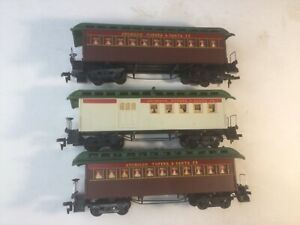 3 Ho Tyco Mantua AT&SF Santa Fe Old Time Passenger & Combine Cars No Reserve!
