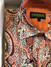 NWT INSERCH Mens Long Sleeve New Multi Color Paisley Shirt Linen Look Size L