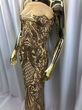 Gold 4 Way Stretch Sequins On A Nude Mesh Lace Fabric Prom-Night Gown By Yard