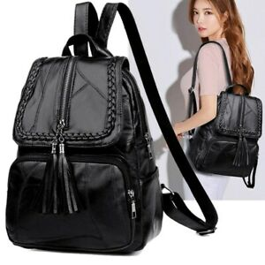 Women PU Leather Backpack Travel Shoulder Bag Handbags Girls Rucksack Backbag
