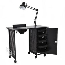 Deluxe Manicure Nail Table Station Black Steel Frame Beauty Spa Salon Equipment