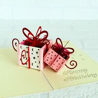Handmade Happy Birthday Pink and White Present Boxes Pop Up Card, 3D Pop Cards