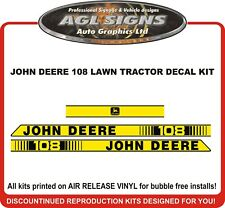 JOHN DEERE 108  Lawn Tractor Hood replacement Decal Kit  , reproductions