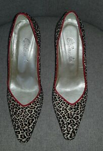 Never Worn Orlando Ladies Leopard Skin Shoes with Red Trim Size 4