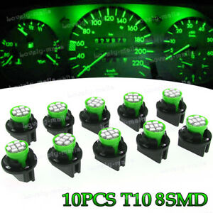 10x Green T10 168 Instrument Panel Gauge LED Light Bulb 194 Twist Lock Socket