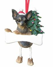 Black & Tan CHIHUAHUA--Dangling Legs DOG Christmas Ornament by E & S Pets
