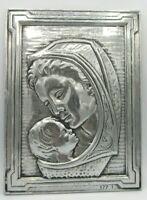Vintage Virgin Mary Madonna & Baby Jesus Handcrafted Mexico Metal Wall Plaque