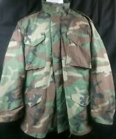 US Army COLD WEATHER FIELD COAT JACKET Woodland Camouflage LARGE REGULAR + LINER