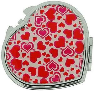 FMG Silver Plated Finish Heart Shaped Compact Mirror With Love Hearts On Cover