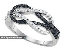 black diamond .52 carats 10K love slip knot weave promise ring strength together
