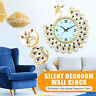 Large DIY 3D Flower Peacock Diamond Wall Clock Metal Modern Home Office Decor