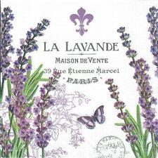 4 Single paper decoupage napkins.Lavender, provenance design-343