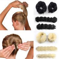 2 pcs Magic Sponge Clip Foam Donut Hair Styling Bun Curler Tool Maker Ring Twist