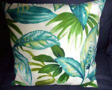 """Pillow Cover 18"""" Indoor/Outdoor tropical fabric Aqua teal Blue Green coastal sea"""