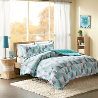 BEAUTIFUL ULTRA SOFT MODERN AQUA TEAL BLUE GREY GEOMETRIC COMFORTER SET & PILLOW