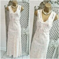 MONSOON  UK 12 Cream & Pink Floral Print Silk Satin Bias Midi Dress Free P&P